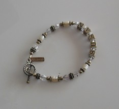 Buttercup Signed Silver Crystal, Pearl Bead Name Susan Toggle Bracelet  - $19.80
