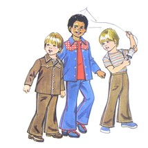 70s Vintage Simplicity Sewing Pattern 6122 Boys Top Shirt Bell Bottom Pa... - $6.95