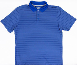 Under Armour Heat Gear Loose Mens Polo Shirt Blue Grey Stripes Size L - $23.49