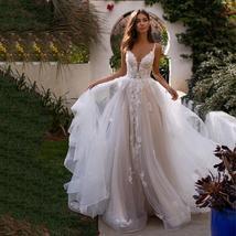 Luxury Princess A Line Backless Deep V Wedding Dress 3D Flowers Spaghetti Straps