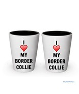 I love my Border Collie Shot Glass - Border Collie Lover gifts (2) - $17.59
