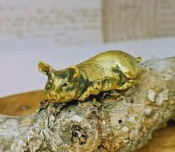 Lying Pig Pure Brass Decorative Collectible Small Handmade Figurine - $14.96
