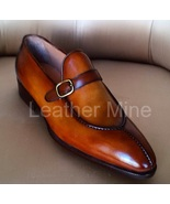 Men's Handmade Tan Leather Monk Shoes, Custom Made Dress Shoes For Men - $159.99+