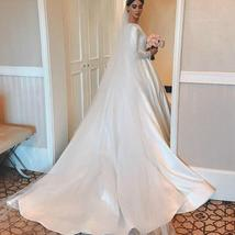 Simple Vintage White Ivory A-line Long Sleeves Royal Satin Castle Bridal Gown image 2