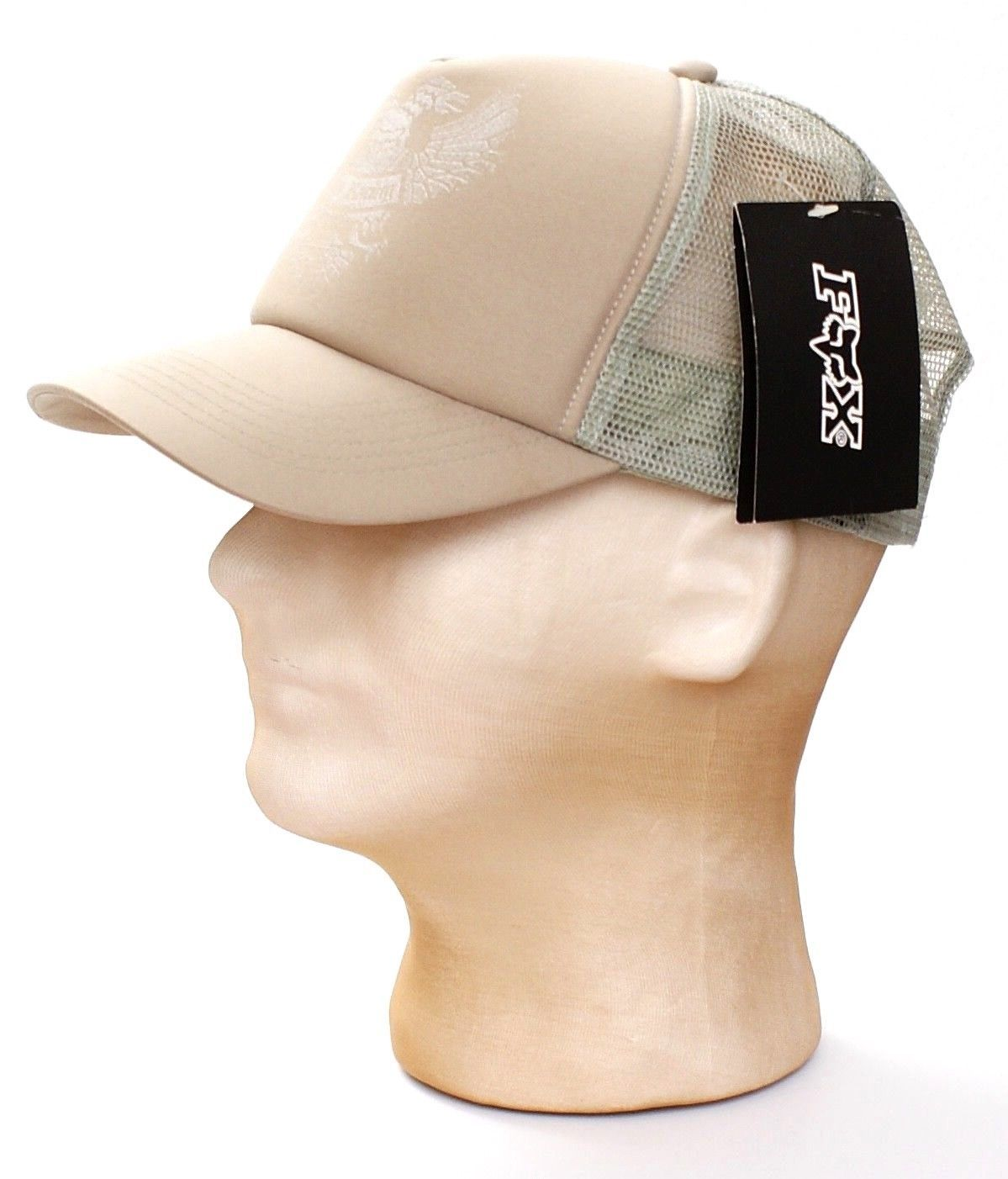 Fox Racing Khaki Mesh Back Black Hawk Trucker Hat Snapback One Size Men's NWT