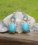 Sleeping Beauty Turquoise and Blue Topaz Earrings - $625.00