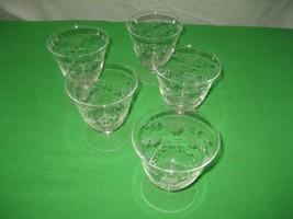 5 Clear Crystal Etched Glass Glassware Stemware Stem Wine Champagne Gobl... - $11.83