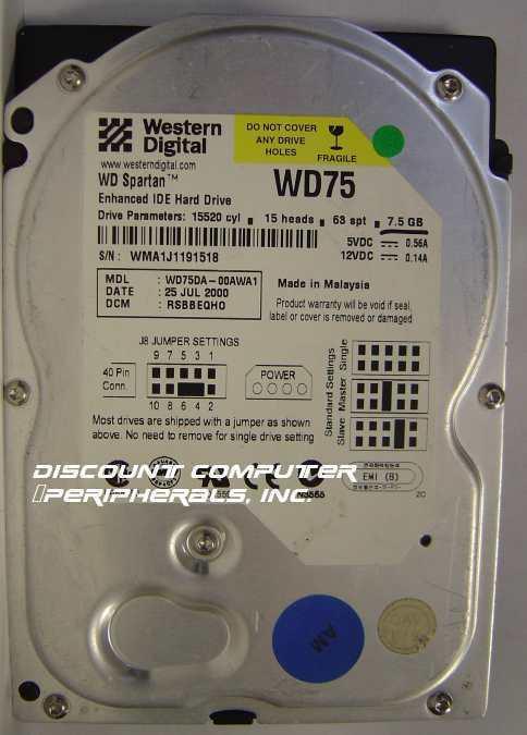 WD75DA Western Digital 7.5GB IDE 3.5 Drive Tested Good Free USA Ship