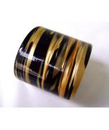 Vintage Lea Stein Black Gold Luminous Wide Cuff Lucite Bracelet - $45.00