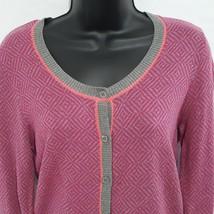 Cabi Sweater Cardigan Small Pink Gray Button Meg 3013 Geometric Long Sleeve - $25.75