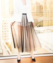 Black Polka Dot Tulle Skirt High Waisted Black Tulle Midi Skirt Outfit image 2