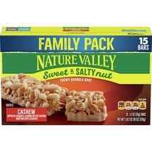 Nature Valley Sweet & Salty Nut Chewy Granola Bars, Cashew, 15 Ct Family... - $12.00