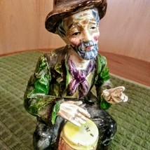Wales Old Man Figurine Gentleman Musician Hobo Bongo Drum Porcelain Japan image 4