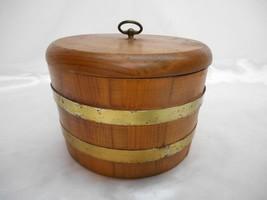 Old Vtg WOOD BARREL Food Storage Container Ice Bucket Kitchen Decor 2 Hoops - $29.69