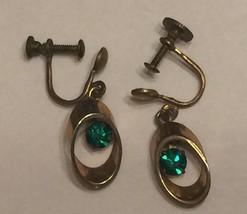 Vintage Art Deco Dangling Green Rhinestones Screw Back Earrings~Dangle G... - $9.10