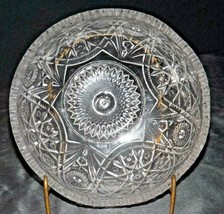 Heavy Etched Cut Glass Bowl AA20-CD0080 Vintage
