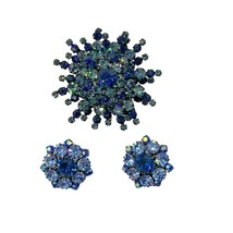 Austria Rhinestone Blue Domed Brooch and Earrings, 1950s Vintage Jewelry... - $89.99