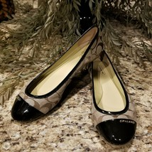 Coach Darena Signature Jacquard Khaki Brown Patent Leather Ballet Flats Sz 8B - $69.95