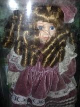 """Beautiful Porcelain doll with Mauve Velvet & Lace Dress & Hat 16"""" Connoi... - $29.99"""