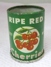 Vintage Wolverine Tin Litho Ripe Red Cherries Tin Can 1 7/8 Inch FUN Col... - $18.32