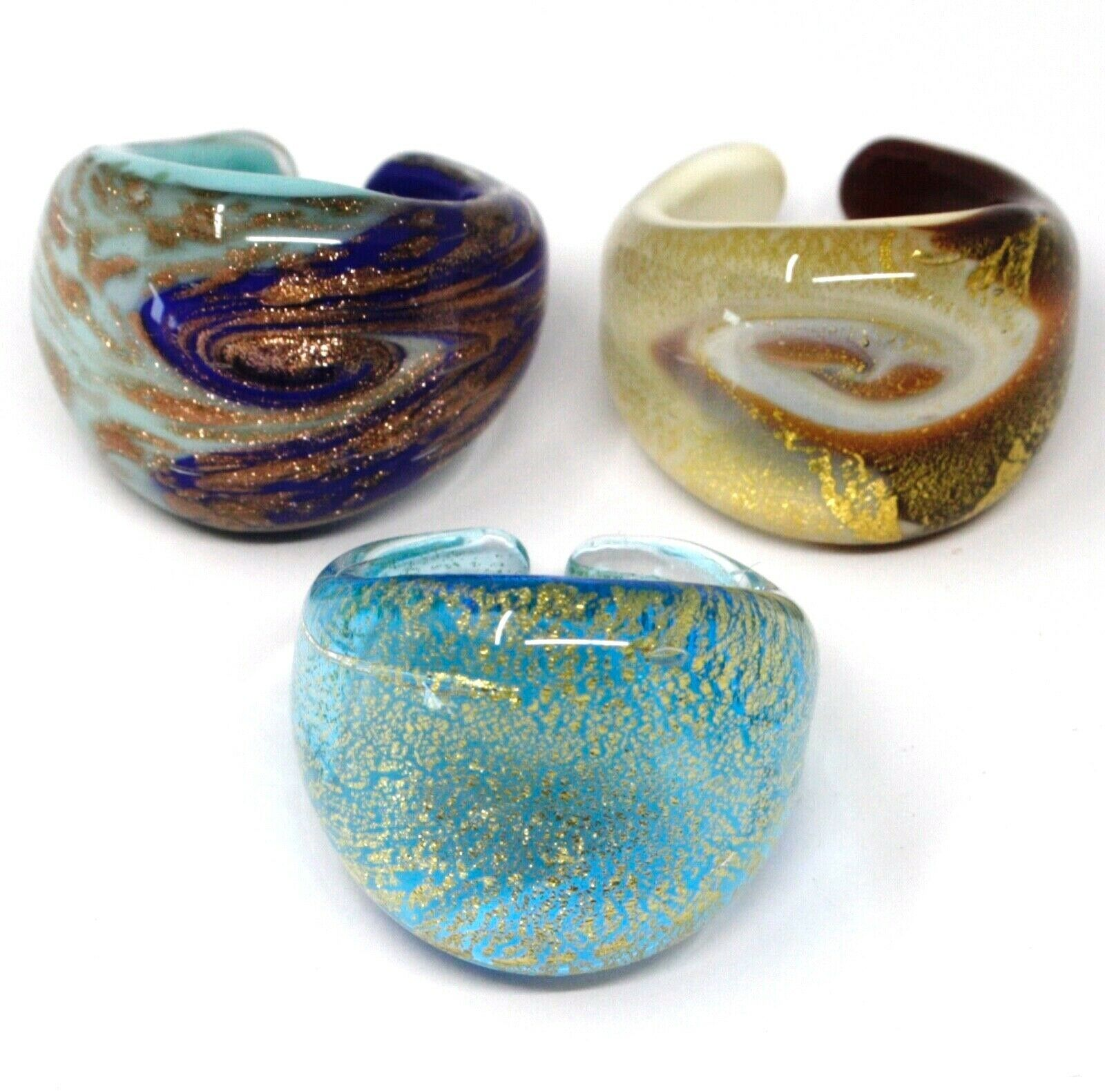 LOT OF 3 ANTICA MURRINA VENEZIA RINGS, MURANO GLASS, SIZE 6.5
