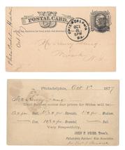 1877 UX5 Phila PA Fancy Cork Cancel Butchers Hide Assoc Henry Lang Newark NJ - $9.95