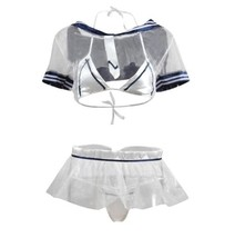 Sailor Student Transparent Bikini Set Sexy School Uniform Sexually Underwear - $32.80