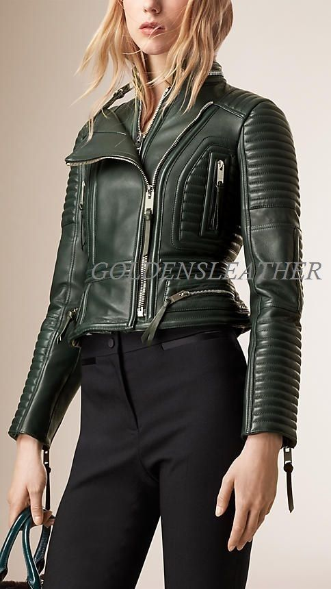 WOMEN BIKER MOTORCYCLE CASUAL SLIM FIT RIDER REAL GENUINE  LEATHER JACKET-A24