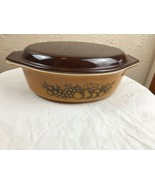 Pyrex Old Orchard Fruit 2 1/2 2.5 QT Casserole Baking Dish #045 45 with lid - $14.92