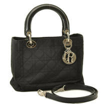 CHRISTIAN DIOR Lady Dior Nylon 2Way Hand Bag Black Auth ar1852 - $720.00