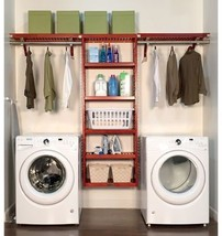 Red Mahogany Finish Solid Wood Wide Laundry Organizer Home Improvement - $417.08