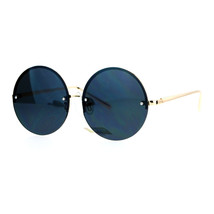 Rimless Style Sunglasses Round Circle Flat Lens Shades Gold Frame - $11.95