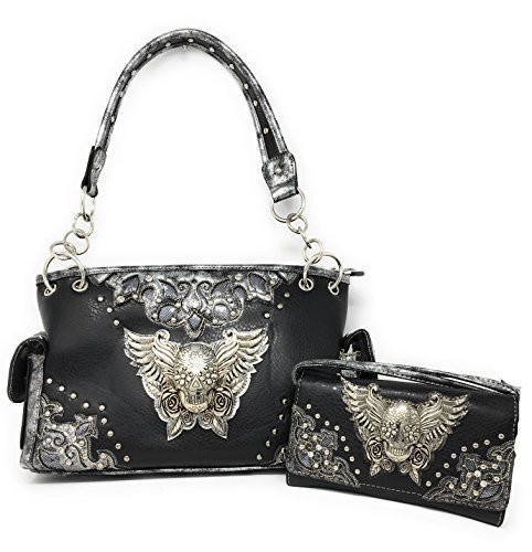 Premium Rhinestone Metal 3D Skull with Wings Women's Handbag with Matching Walle