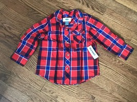 Toddler Boys Old Navy Plaid Button Front Shirt w/ Roll Tab Sleeves Size 2T - $7.69