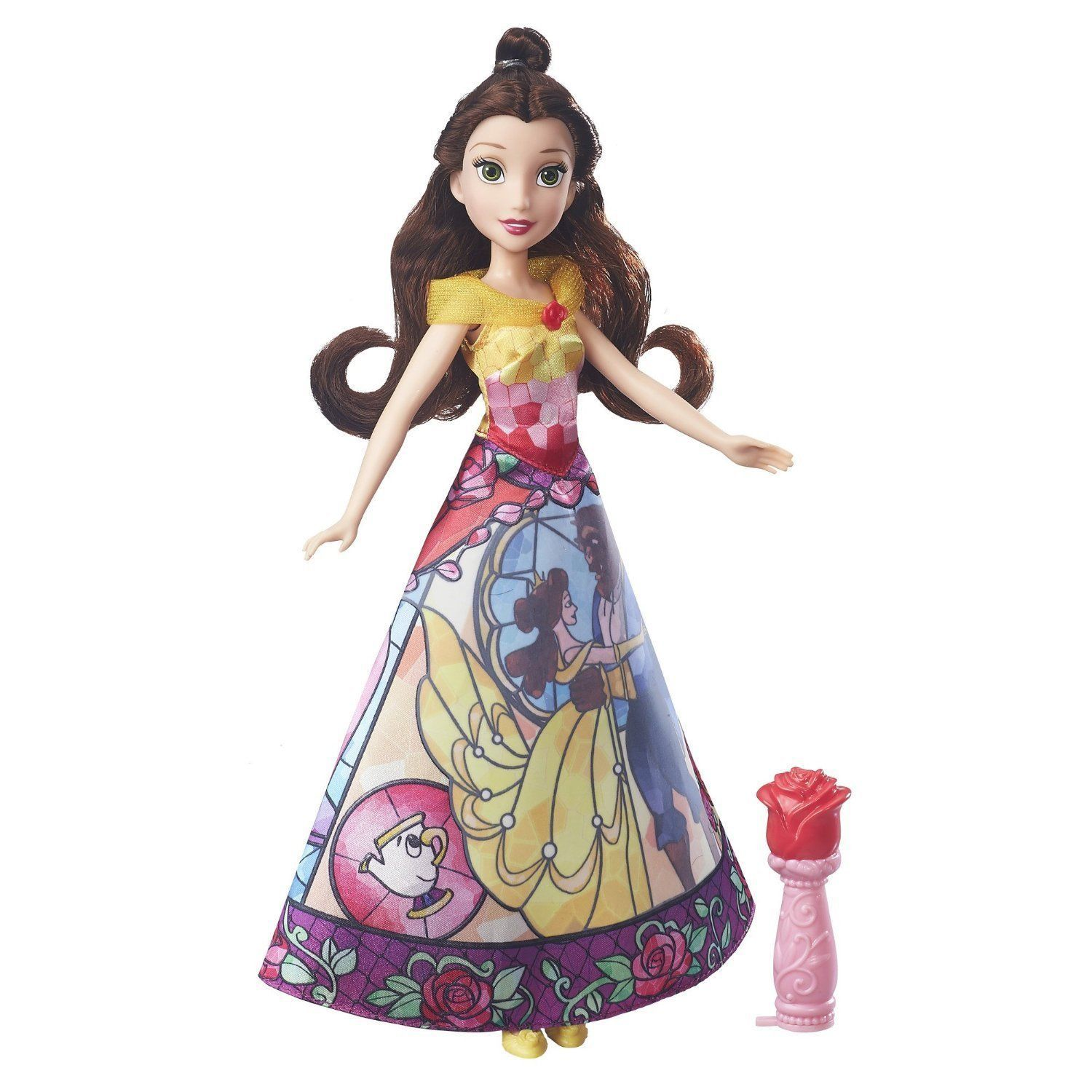 Image 0 of Disney Princess Belle's Magical Story Skirt Doll in Fuchsia/Yellow by Hasbro