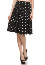 Navy Blue Polka Dot Flare Skirt - Stretchy Knit - Vintage Inspired - Hey... - $32.00