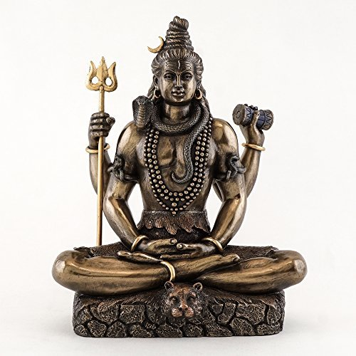 Top Collection 8.5 Inch Shiva in Padmasana Lotus Pose Hindu Statue in Cold Cast