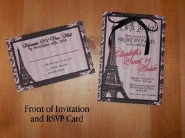 Paris Sweet Sixteen Invitation Set, Birthday, Eiffel Tower Charm, Person... - £15.87 GBP