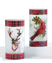 "7.87"" Christmas Hurricane Tealight Candle Holder w Red Plaid Trim - Choice of 2"