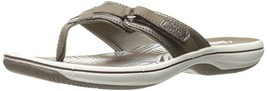 Clarks Women's Breeze Sea Flip Flop, New Pewter Synthetic, 5 BM US - $50.88