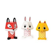 Manhattan Toy Mix & Match Fox, Bunny, & Cat Magnetic Wooden Stacking Blo... - $28.48