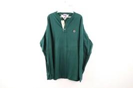 Vtg 90s Tommy Hilfiger Mens XL Crest Logo Long Sleeve Henley Shirt Hunter Green - $39.55