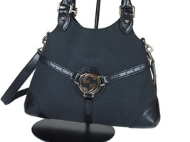 GUCCI GG Logo Canvas Leather Black Hand Bag with Strap GS2253 - $259.00