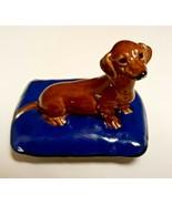 "Wade ""Rufus Dachshund""1997 ""Wade on Tour"" Dog on Blue Porcelain Pillow - $98.99"