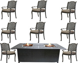 Propane fire pit dining table and chairs cast aluminum patio furniture 9 piece  image 1