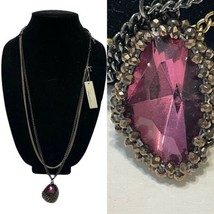 """NWT Kenneth Cole onyx gold tone necklace  purple multi faceted pendant  28-31""""  - $23.38"""