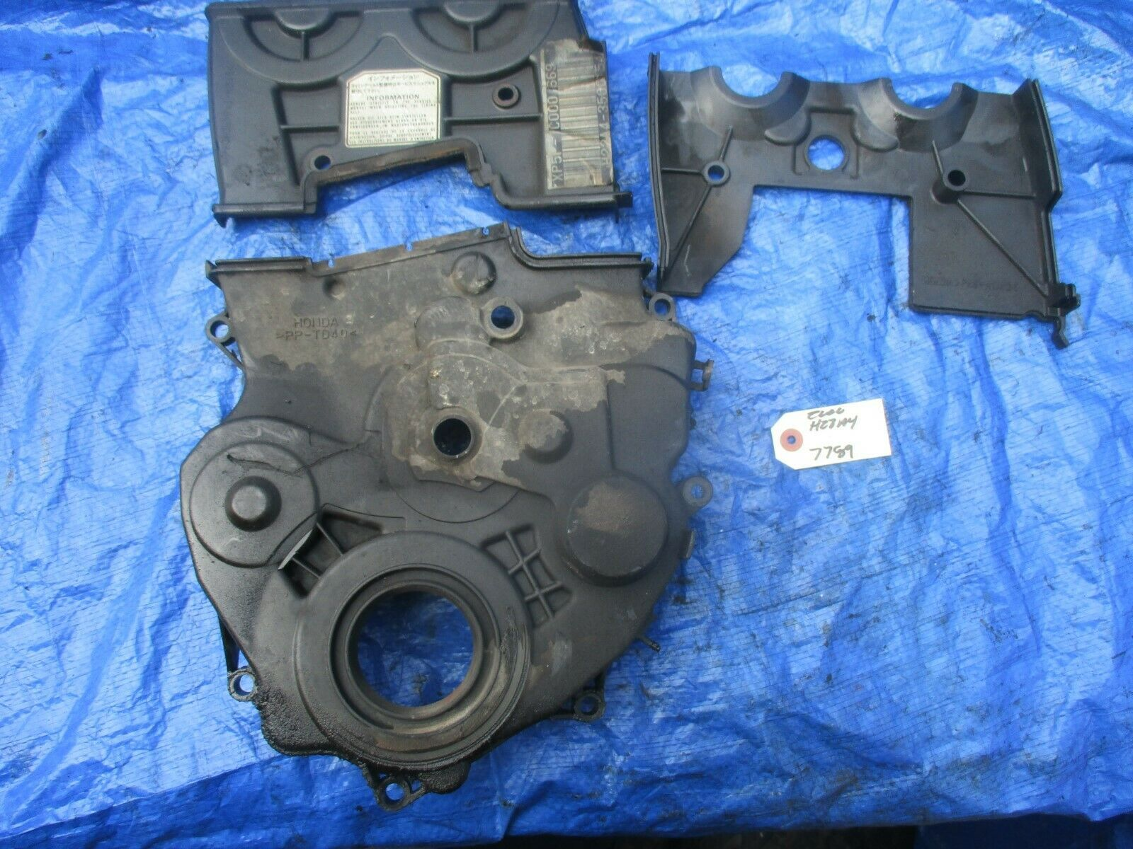 97-01 Honda Prelude H22A4 VTEC upper and lower timing cover H22A engine motor 77