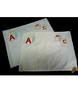INFANT BABY Pillowcase Embroidered ABC Red, Yellow, & Blue Blocks~SET of... - $37.22