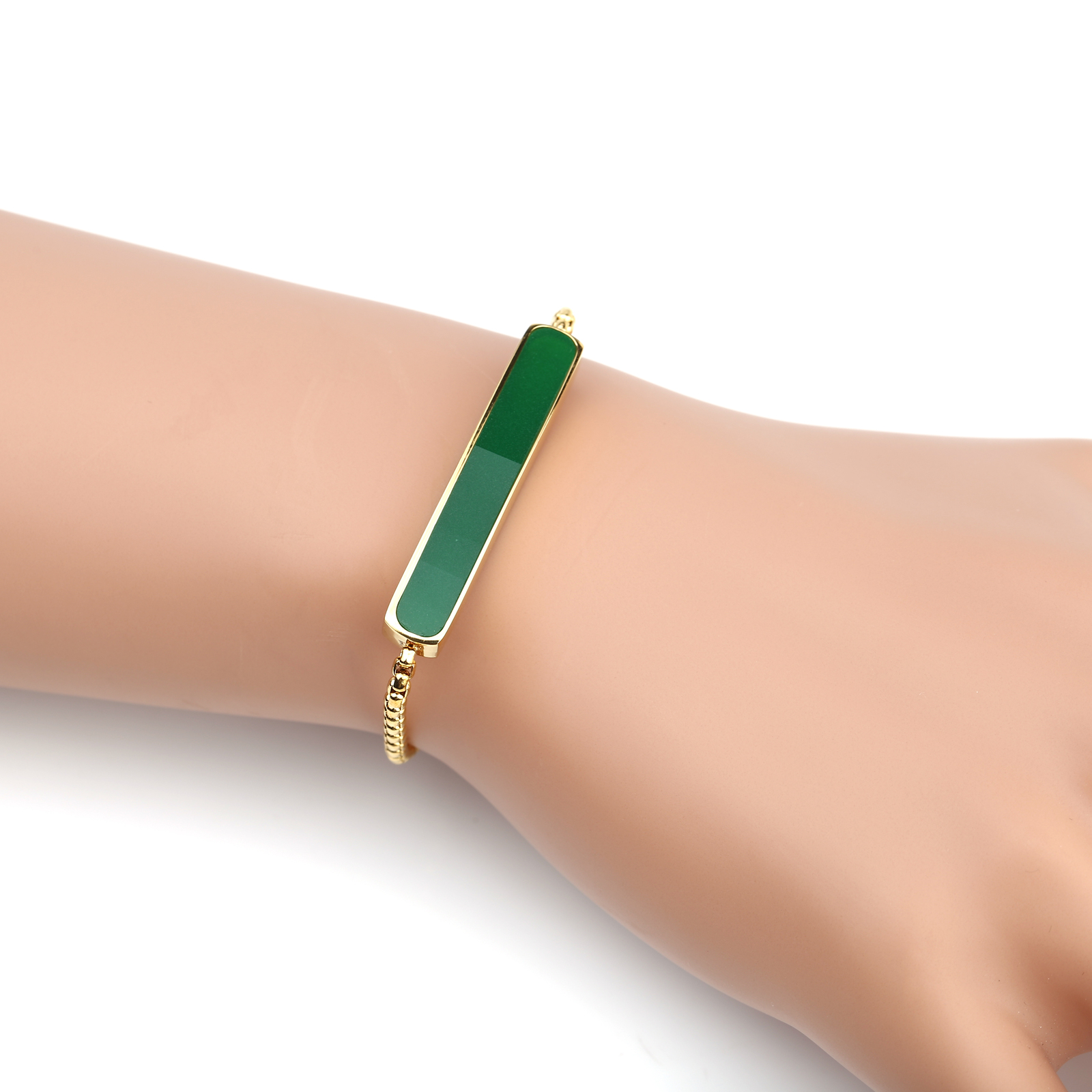 UNITED ELEGANCE Gold Tone Designer Bolo Bar Bracelet With Emerald Green Inlay