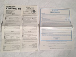 Vintage PIONEER DM-V210 One Sheet Owner's Manual & Warranty Card Microph... - $9.89
